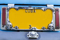 Yellow vintage numberplate, Cuba Royalty Free Stock Image