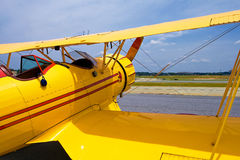Yellow vintage plane Stock Images