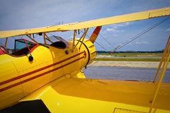 Yellow vintage plane Stock Photo