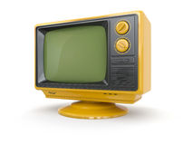 Yellow vintage retro tv. Stock Photo