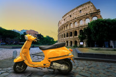 Yellow vintage scooter Stock Images