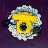 Yellow vintage telephone Royalty Free Stock Photography
