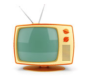 Yellow vintage TV set Royalty Free Stock Images
