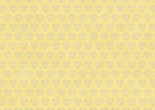 Yellow vintage wallpaper with blue flourish ornament Stock Photo