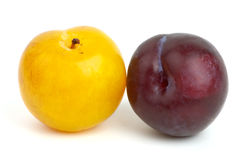 Yellow and violet plums Stock Photos