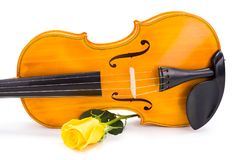 Yellow violin with rose Royalty Free Stock Photography