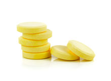 Yellow vitamin pills Royalty Free Stock Images