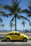 Yellow Volkswagen Beetle Fusca Rio de Janeiro Brazil Royalty Free Stock Photos