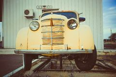 Yellow Volkswagen Beetle vintage car in a street Stock Images