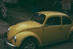 Yellow Volkwagen Beetle Stock Photo