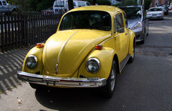 Yellow VW Bug Stock Photography