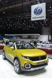 Volkswagen T-Cross Breeze concept. Yellow VW T-Cross Breeze at 86th International Auto Show, Geneva 2016 royalty free stock photos