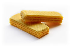 Yellow wafers. Yellow wafers isolated on white background Royalty Free Stock Photos