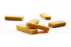 Yellow wafers. Yellow wafers isolated on white background Stock Photography
