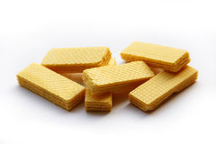Yellow wafers. Yellow wafers isolated on white background Royalty Free Stock Images
