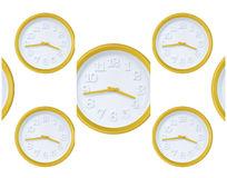 Yellow wall clock Royalty Free Stock Photography