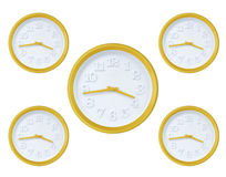 Yellow wall clock Stock Photography