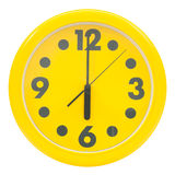 Yellow wall clock Royalty Free Stock Photos