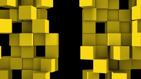 Yellow Wall of cubes divide. Yellow Wall of cubes is divided into separate blocks and moves apart in opposite directions. Abstract transition, 3D animated intro royalty free illustration