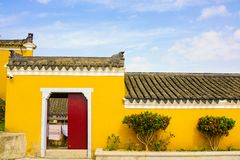 The yellow wall royalty free stock photos