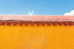 Yellow wall at Jokhang temple, Lhasa, Tibet Stock Images