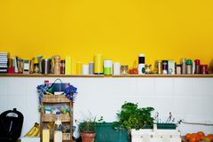 Yellow wall in the kitchen Royalty Free Stock Photography