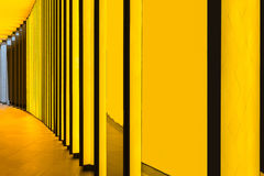 Yellow wall at the Louis Vuitton Foundation, Paris, France royalty free stock photo