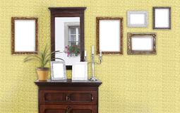 Yellow wall with picture frame Stock Image