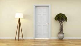Yellow wall with white door and plant. Wall with door and plant, light Stock Photography