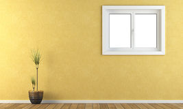 Yellow wall with a window Royalty Free Stock Images