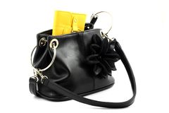 Yellow wallet in bag Stock Photo