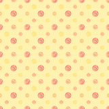 Yellow warm abstract polka dot fabric seamless pattern. Background, vector texture for textile Royalty Free Stock Image