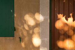 Yellow Warm Facade Closeup with Green Shutters and Wooden Door Royalty Free Stock Photos