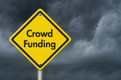 Yellow Warning Crowd Funding Highway Road Sign Stock Images