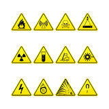 Yellow warning and danger icons Stock Photos