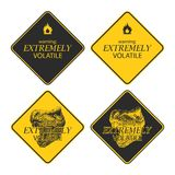 Yellow warning and danger signs collection Stock Photography