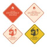 Yellow warning and danger signs collection eps8 Royalty Free Stock Photos