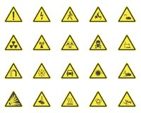 Yellow Warning Hazard Signs Set. Vector. Yellow Warning Hazard Signs Set Symbol of Danger, Radiation, Chemical, Flammable and Voltage. Vector illustration of Royalty Free Stock Photos