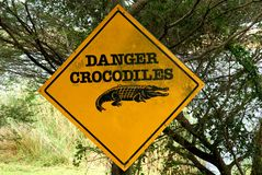 Crocodile danger warning sign, South Africa stock photos