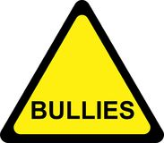 Yellow warning sign with bullies Royalty Free Stock Photos