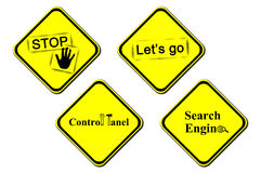 Yellow warning sign - control panel, search engine, lets go, stop, illustration Royalty Free Stock Photo