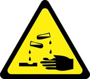Yellow warning sign with corrosive substances Stock Image