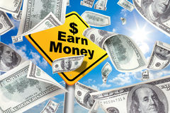 Yellow Warning Sign Earn money, make money Stock Images