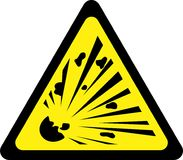 Yellow warning sign with explosive substances Royalty Free Stock Photos