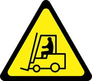 Yellow warning sign with forklift Royalty Free Stock Photo