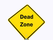 Yellow warning sign isolated. Dead zone traffic warning sign isolated over white royalty free illustration