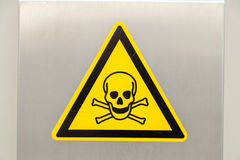 Yellow Warning Sign with Skull Royalty Free Stock Image