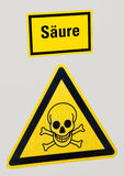 Yellow Warning Sign with Skull Royalty Free Stock Photography