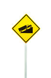 Yellow warning  sign up to hill Stock Photos