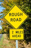Yellow Warning Sing on a Country Road. Traffic Sign warning against Rough Road Ahead stock images